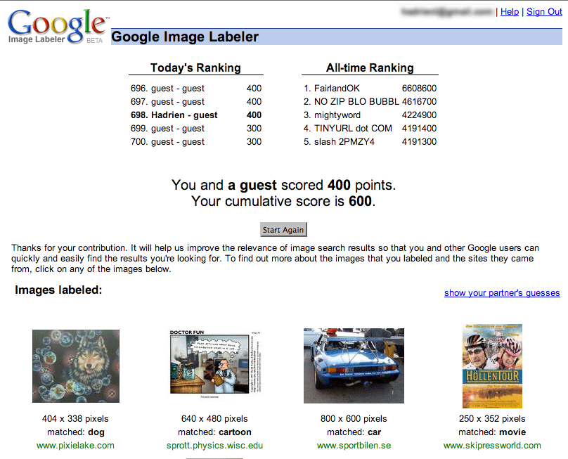 screenshoot Google Image Labeler