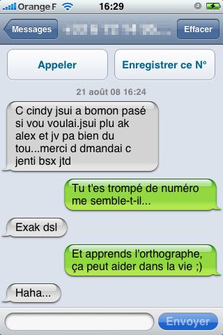 SMS orthographe