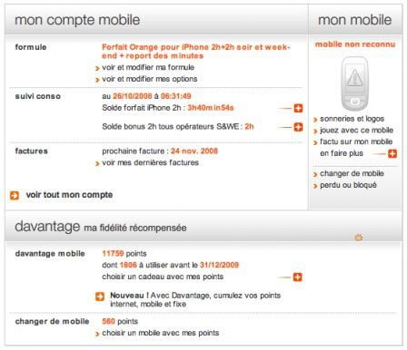 orange compte client flash