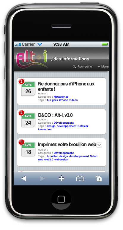 Dotclear iPhoneView Extension