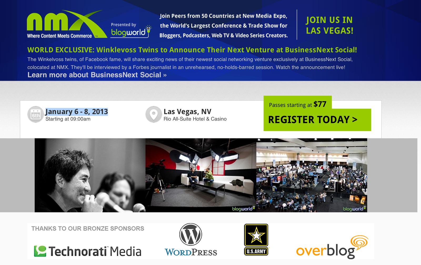 Overblog en sponsor avec l'US ARMY pour blogworld Las vegas