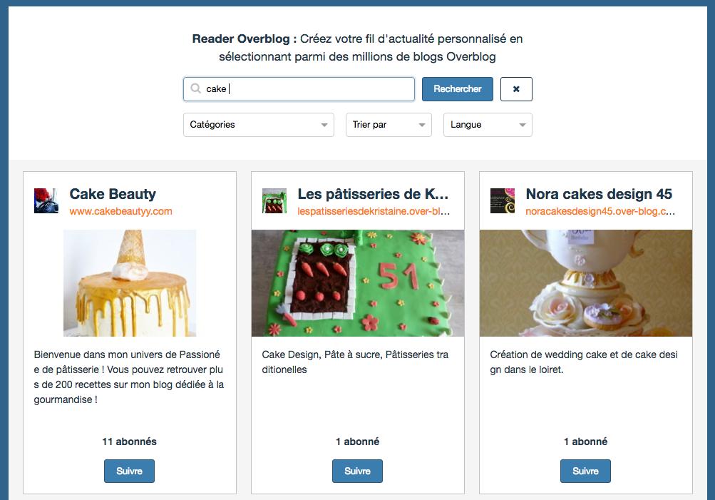 Le Reader vous propose également un moteur de recherches pour trouver facilement n'importe quel blog et vous abonner à ce dernier.