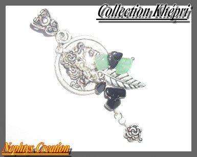 Collection Khépri pendentif fortuna (vert et noir)
