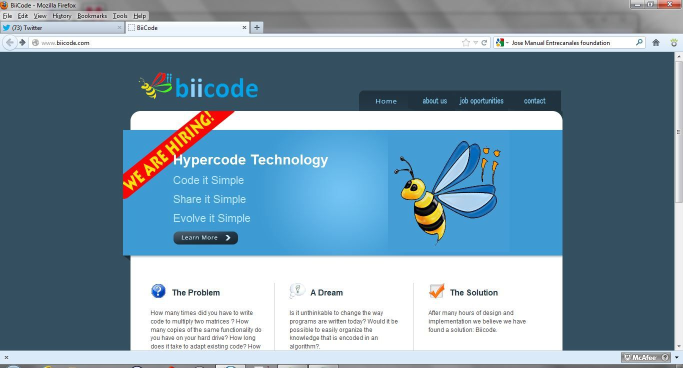 Screenshot from the BiiCode site