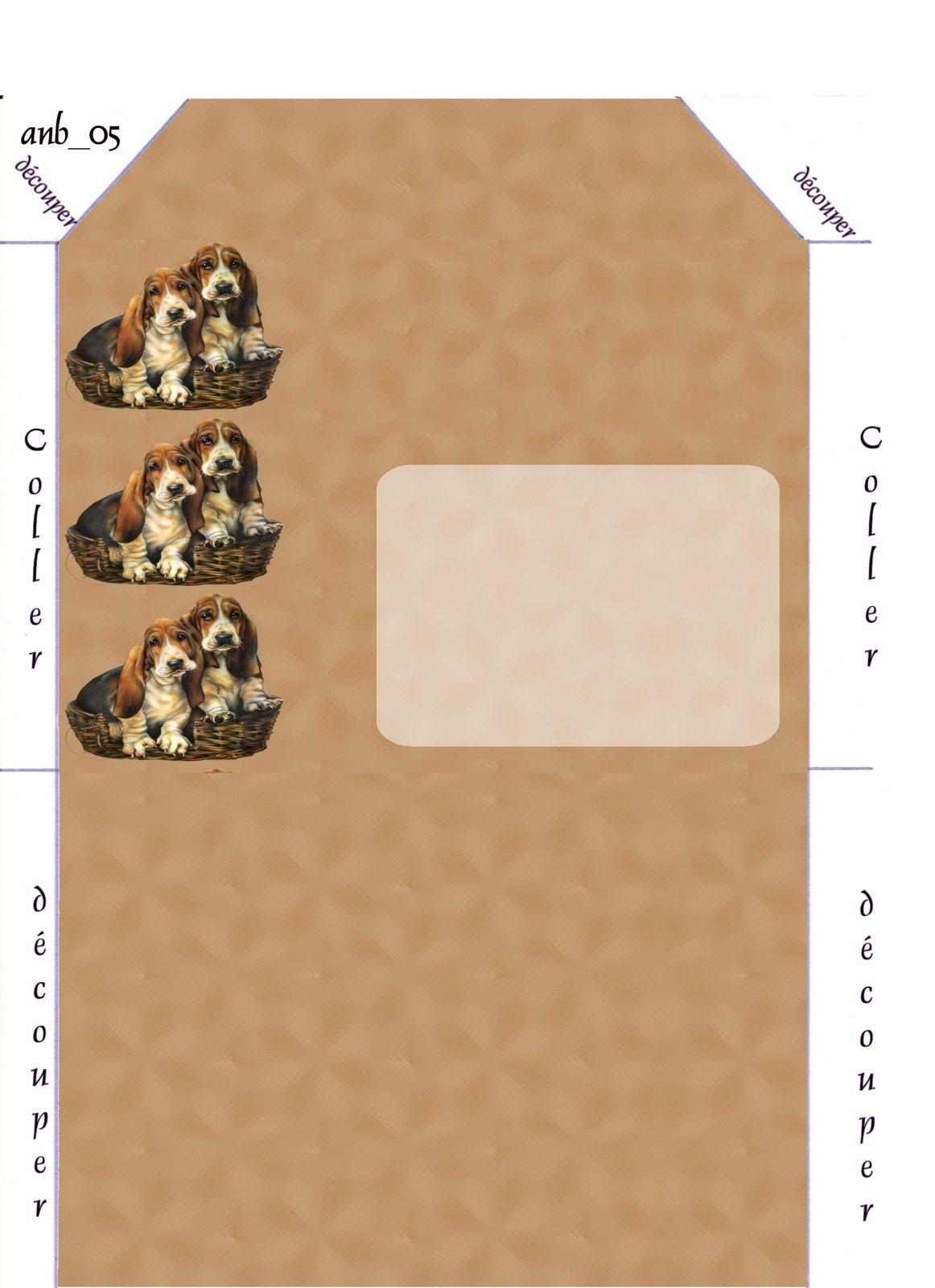 Chiens panier Incredimail &amp&#x3B; Papier A4 h l &amp&#x3B; outlook &amp&#x3B; enveloppe &amp&#x3B; 2 cartes A5 &amp&#x3B; signets 3 langues  chien_bassets_in_a_basket_lg
