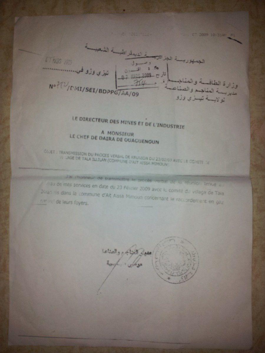 Missive du procès verbal adressé par la DMI a la Daira de Ouaguenoun le 07 mars 2009.