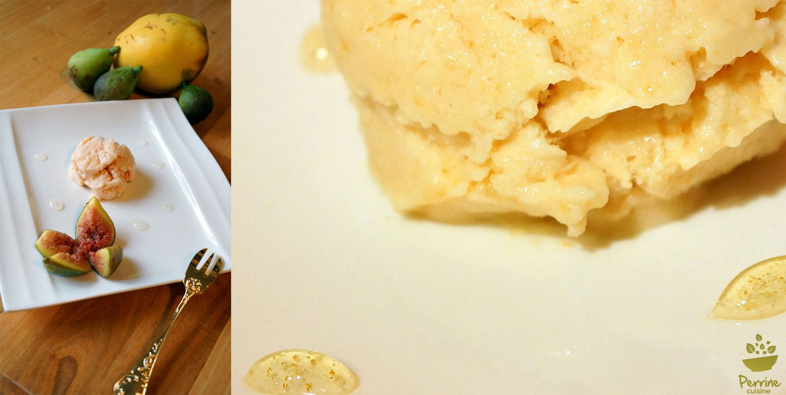 Glace aux coings et figues rôties, miel à la fleur d'oranger