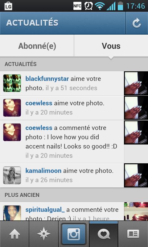 Coewless qui aime et commente ma photo sur IG <3