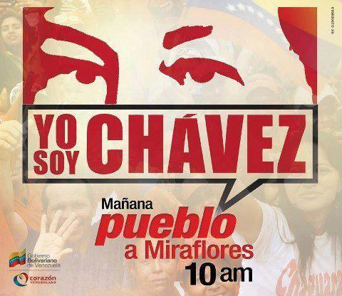 Affiches pour la manifestation en soutien au président  Hugo Chavez quiaura lieu à Caracas le jeudi 10 janvier,