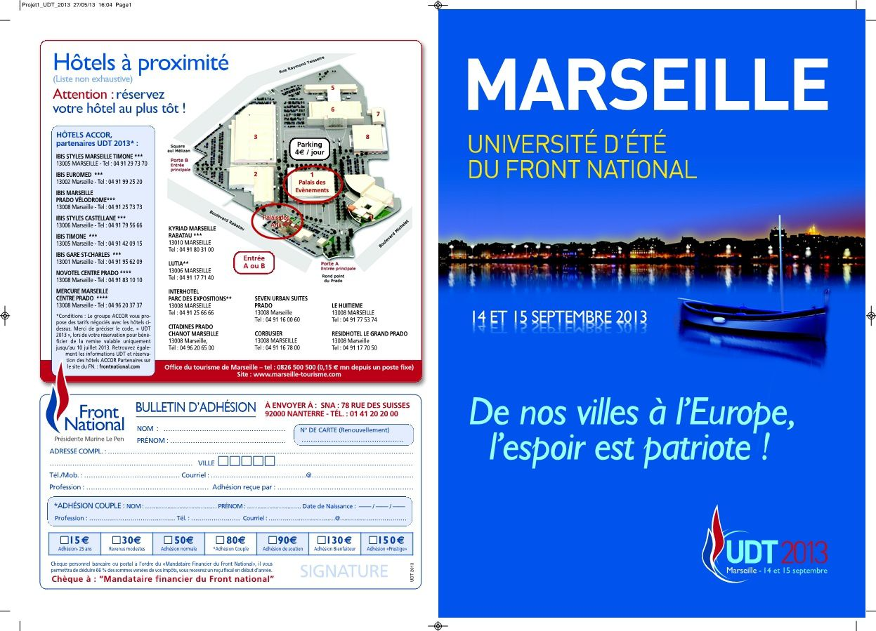Inscrivez-vous à l'université d'été 2013 du FN à Marseille