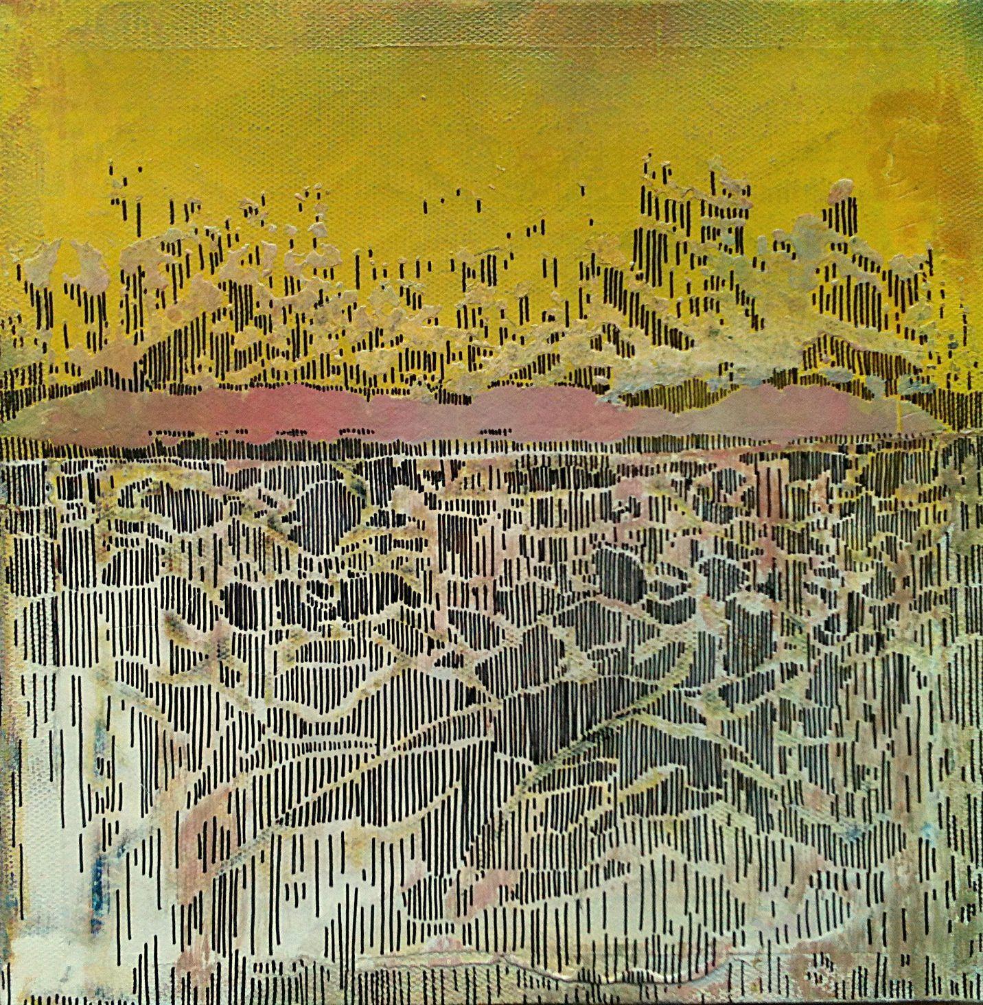 """""""Dans l'air, du temps II"""", 2012, peinture à bombe et marker, 25 x 25 cm.."""