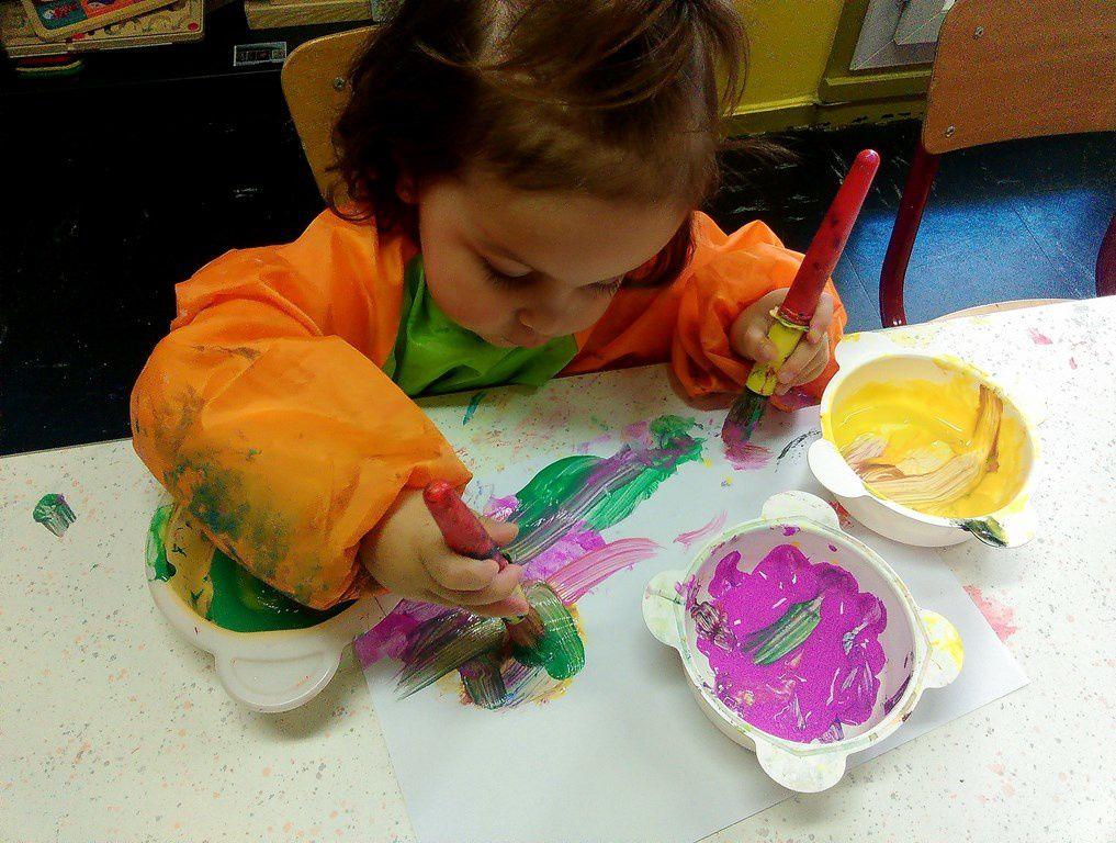 Atelier peinture improvisé de la semaine dernière !