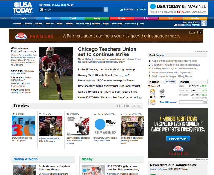 La home actuelle de USA Today