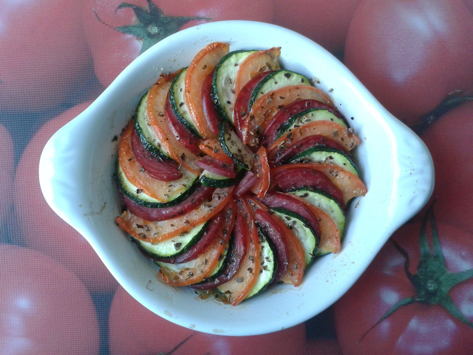 Tian de légumes et filet mignon fumé