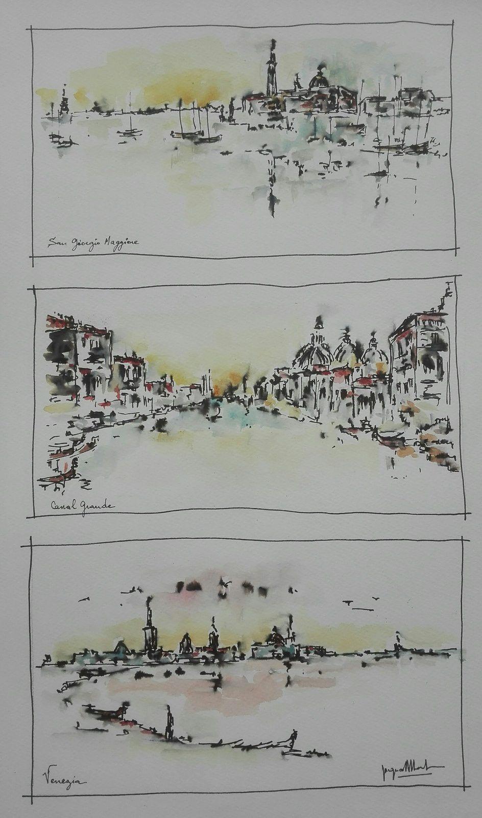 Triptyque Venise encre stylo et aquarelle 40 50
