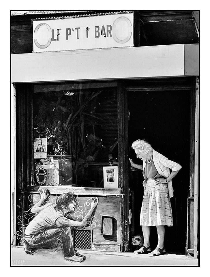 Collaboration avec Gérard Lavalette. Dessins à l'encre, crayon et feutre sur photographies.