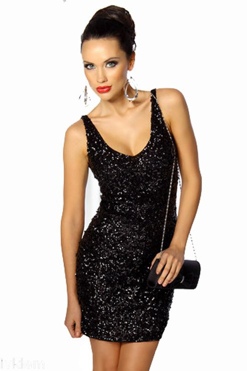 CHIC &amp&#x3B; SEXY! ROBE FOURREAU PAILLETTES DE SOIREE GALA BAL COCKTAIL 36/38/40 NOIRE Marisada.com 33,90€