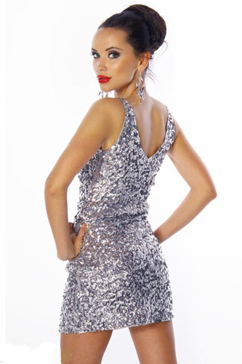 CHIC &amp&#x3B; SEXY! ROBE FOURREAU  PAILLETTES DE SOIREE GALA BAL COCKTAIL 36/38/40 ARGENT Marisada.com 33,90€