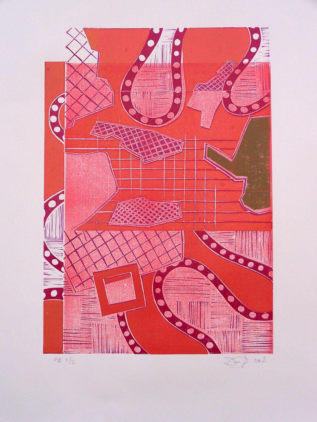 """""""Parcelles répertoriées"""" rouge, linographie, 100 x 72 cm, 2009"""