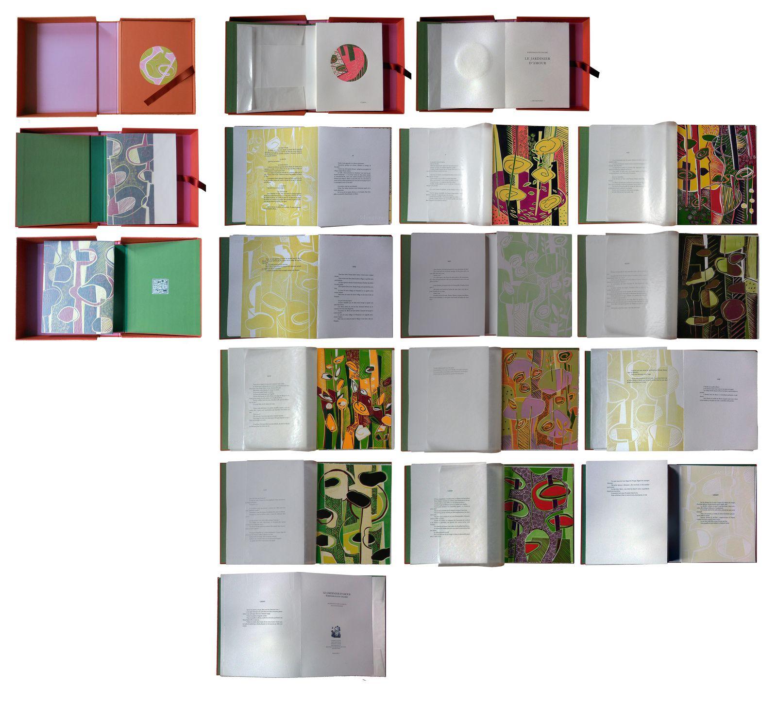 Le jardinier d'amour, texte de Rabindranath Tagore, accompagné de quinze linogravures couleurs, avec emboîtement. 25 x 32 cm , 100 pages, 2016. édité à quatre exemplaires.