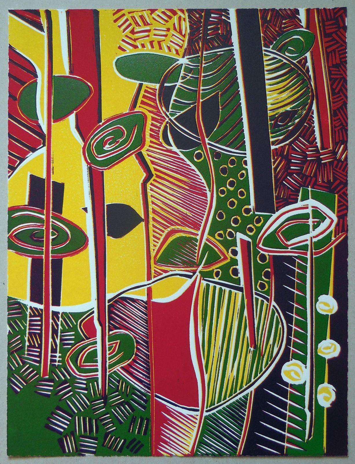 """Sans titre, série """"les jardins de Tagore"""", linographie couleur, 25 x 32 cm, édité à six exemplaires, 2016"""