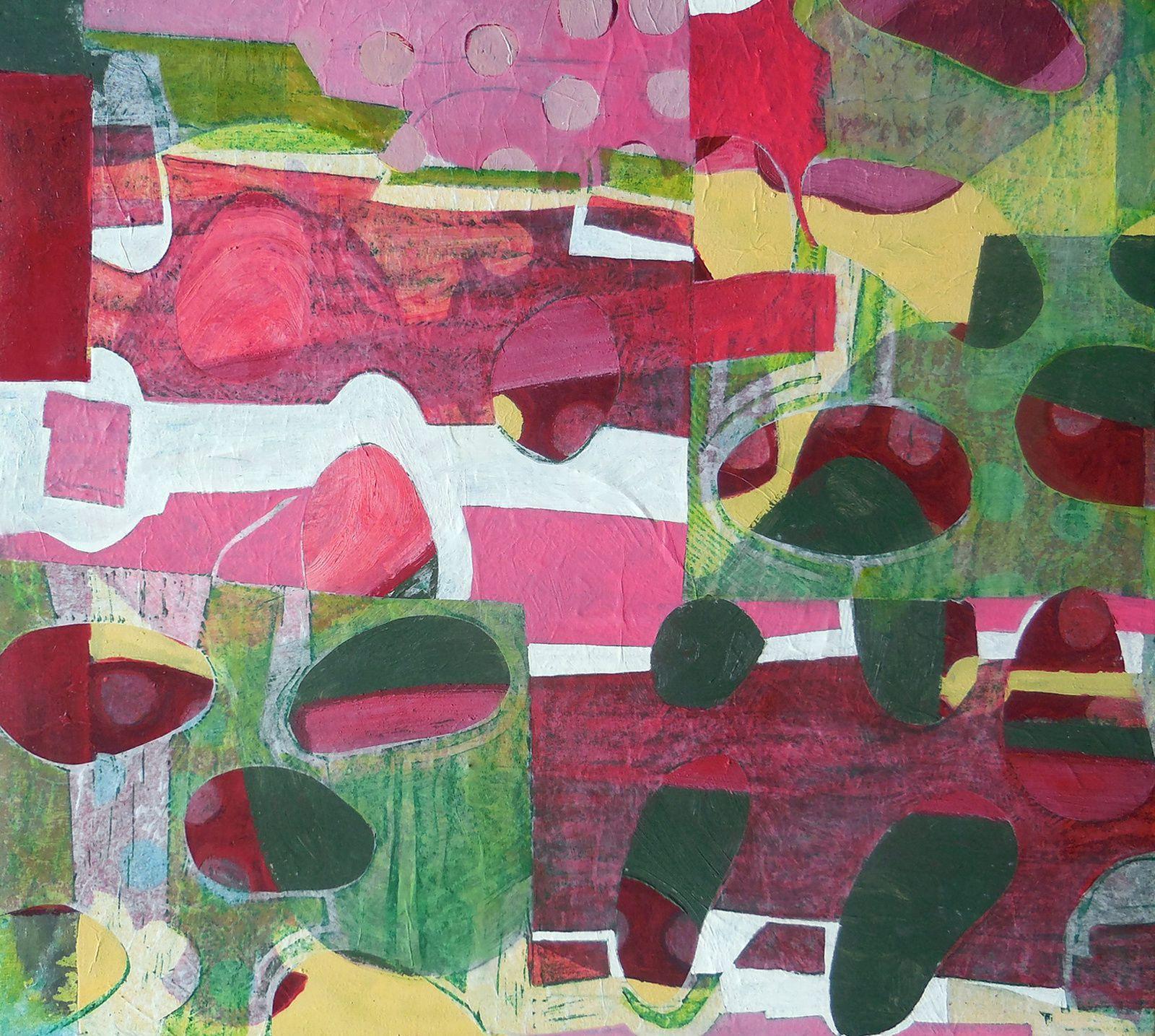 """Sous-bois I (série """"les jardins de Tagore""""), huile / toile et collage, 54 x 44 cm, 2016"""