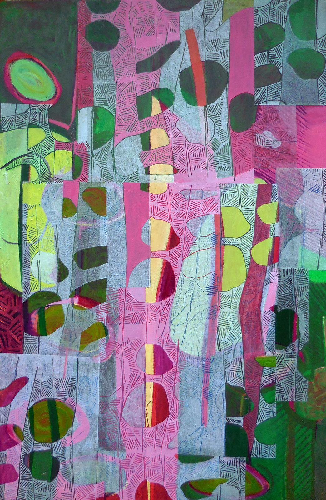"""Sous-bois VII (série """"jardin de Tagore""""), 120 x 220 cm, huile / toile et collage, 2016"""