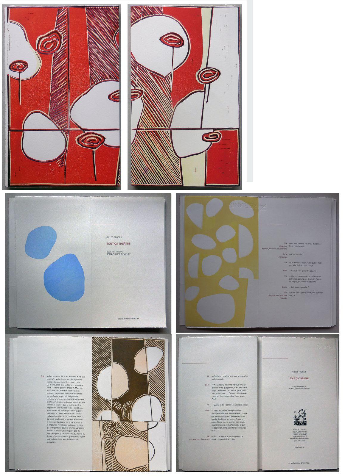 Tout ça théâtre, texte de Gilles Froger, 19x30 cm, linographies couleurs édité à 30 exemplaires, 2016
