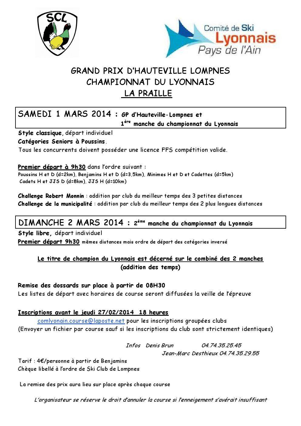 Grand Prix d'Hauteville - Lompnès : 1er et 2 mars.