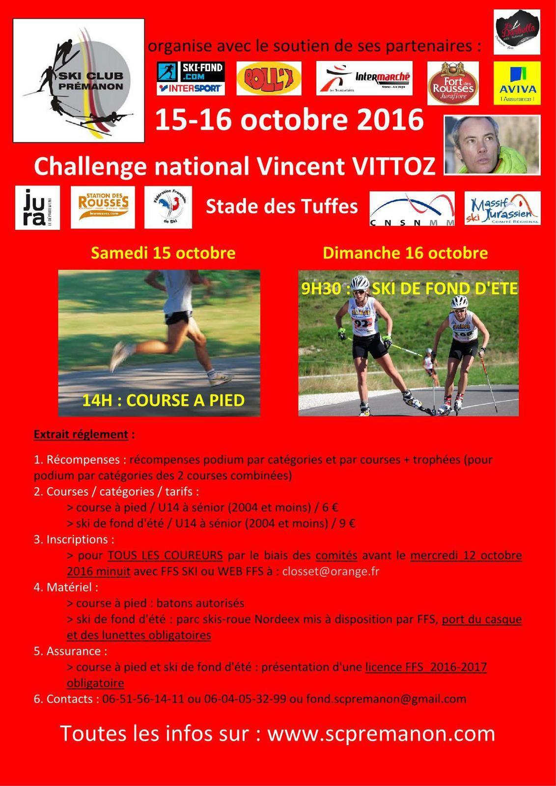 Résultats du Challenge National Vincent Vittoz.