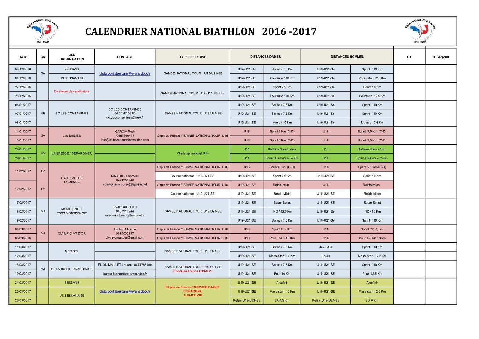 Calendrier saison 2016-2017.
