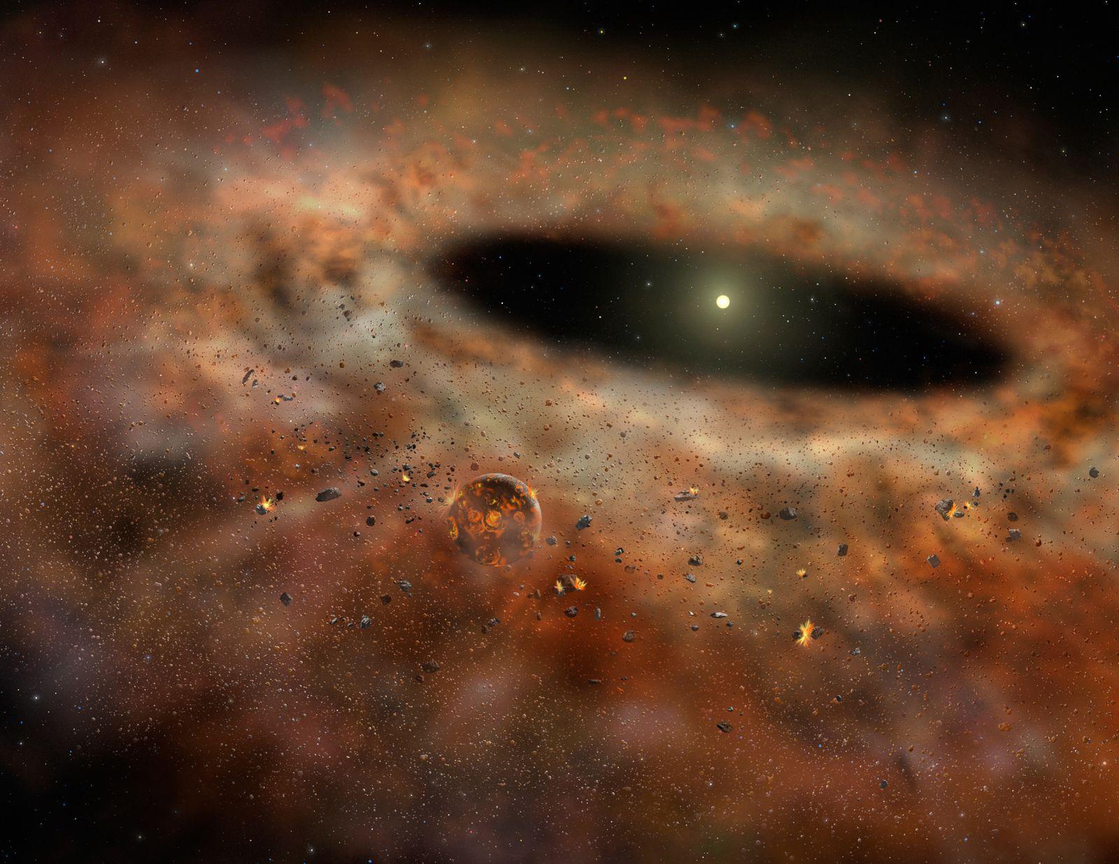 Impressione artistica di come sarebbe potuto apparire a un osservatore relativamente vicino il disco di polveri orbitante intorno a TYC 8241 2652 1, all'epoca in cui i nostri strumenti registravano il massimo di radiazione infrarossa. Cortesia: Gemini Observatory/AURA / Lynette Cook