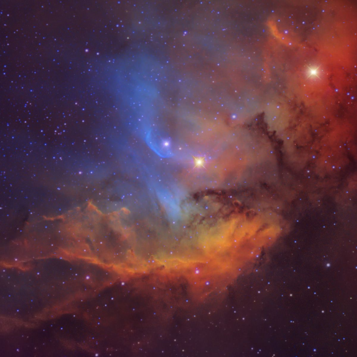 Vista ingrandita della regione centrale della nebulosa