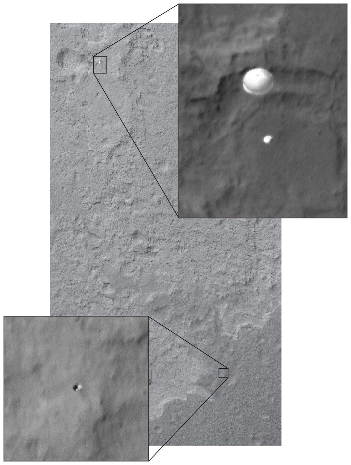 In questa composizione grafica è visibile, oltre al paracadute a cui è appeso il rover, anche lo scudo termico (riquadro in basso), probabilmente ancora in caduta libera, sganciato pochi minuti prima della foto. Cortesia: NASA/JPL/University of Arizona