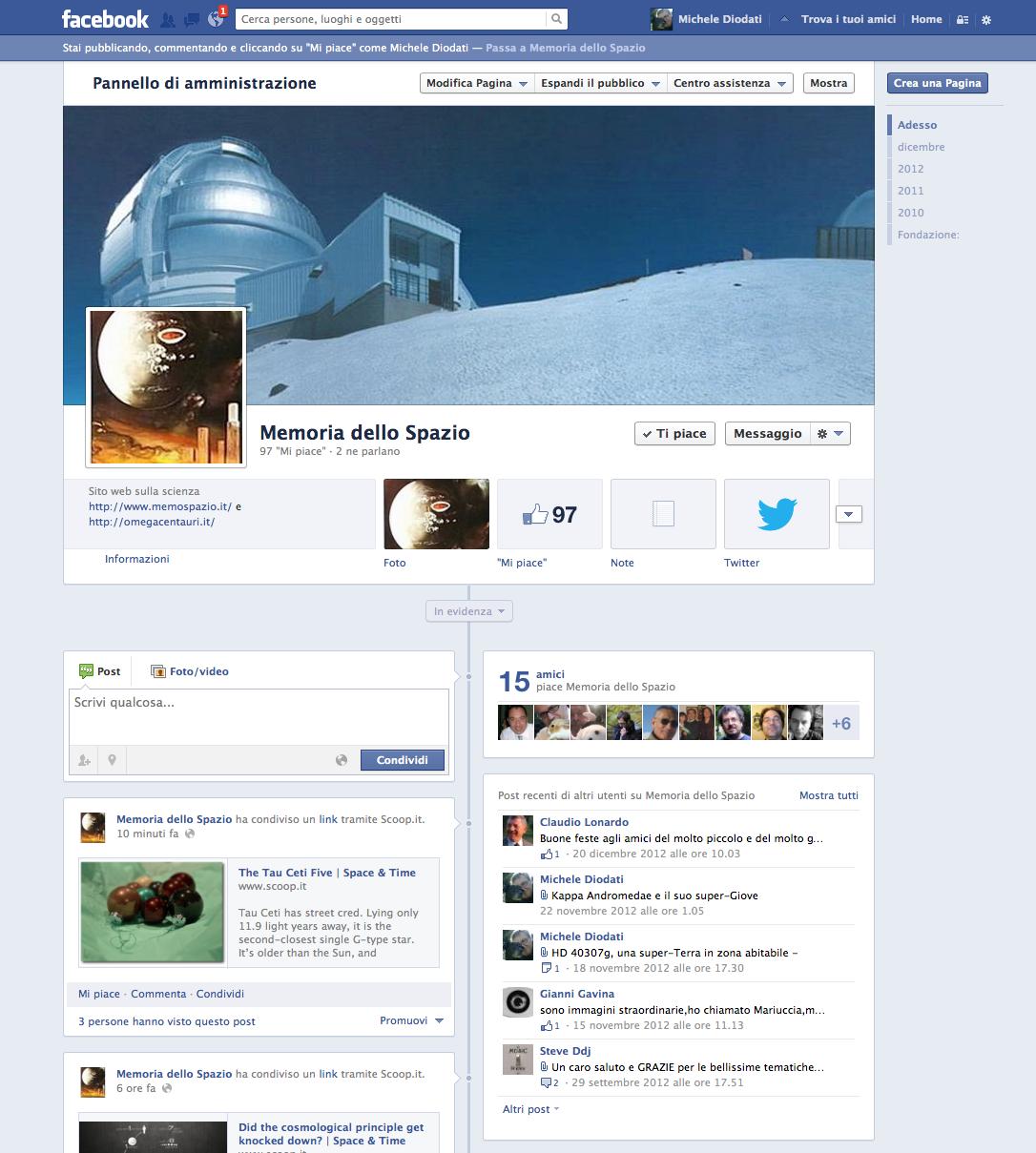 La pagina Facebook di Memoria dello Spazio
