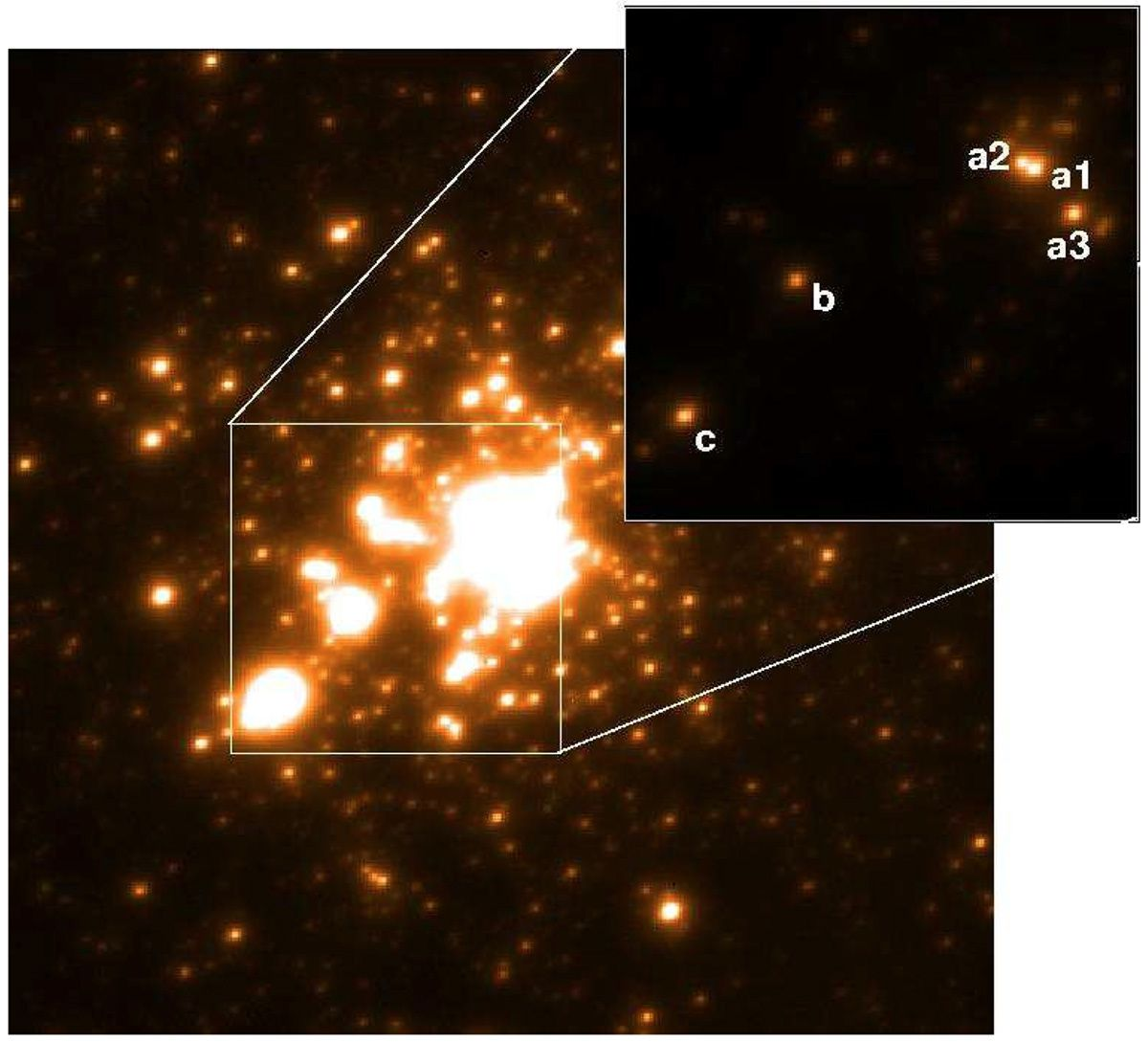 L'ammasso R136 nella Grande Nube di Magellano, ripreso nel vicino infrarosso con lo strumento MAD del Very Large Telescope. Cortesia: P. A. Crowther et al., MNRAS 408, 2, 731–751 (2010)