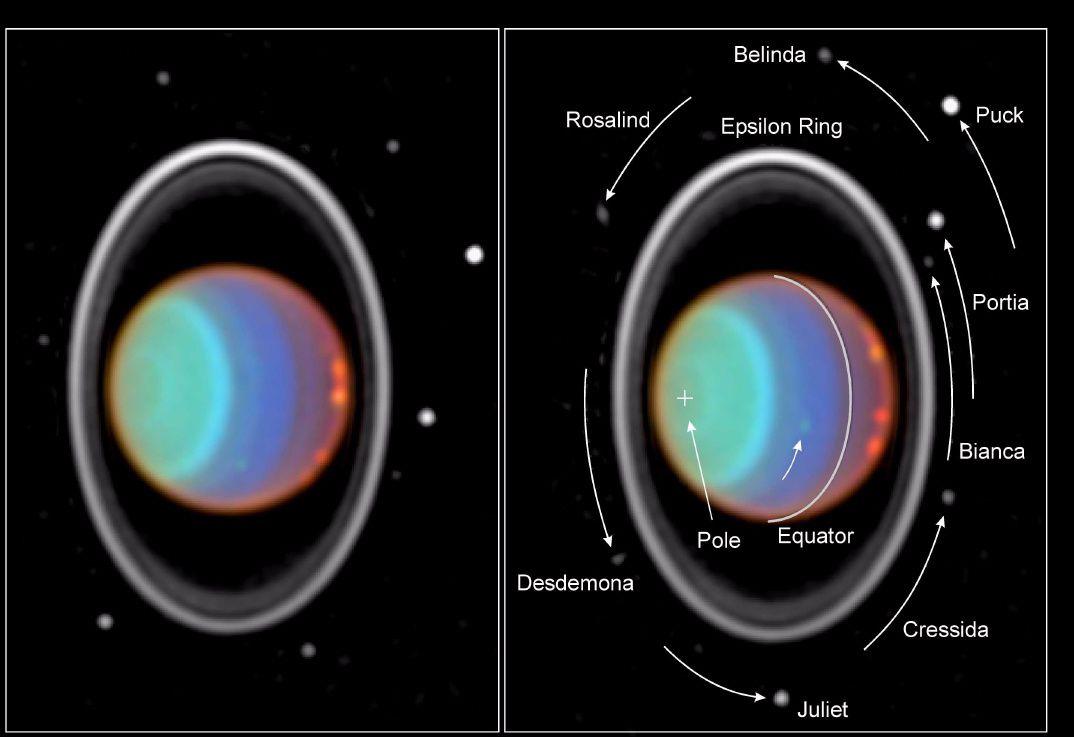 """Urano con il sistema degli anelli e alcune delle lune, osservato nel vicino infrarosso con il telescopio spaziale Hubble nel 1998. <span class=""""di"""">Cortesia: NASA e Erich Karkoschka</span>"""