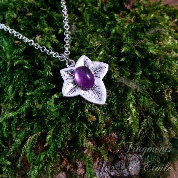 collier elfique Feuille de lierre Elorien Améthyste violet clair médiéval celtique nature wicca païen ésotérisme magie mariage