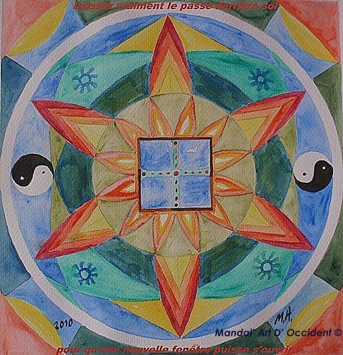 mandala évasion du passé avec une fenêtre, peint à l'aquarelle