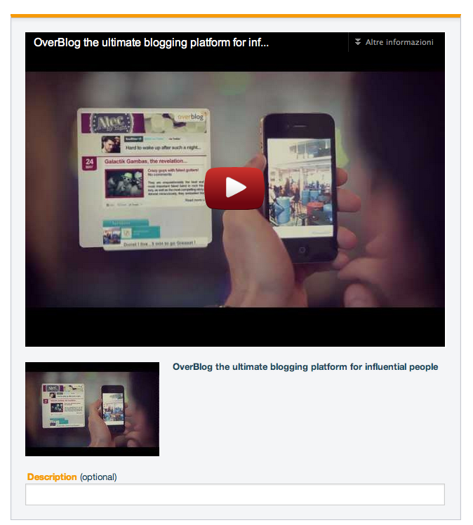 Copy/paste the link of the video you want to add to your blog. Your video is ready to be played!