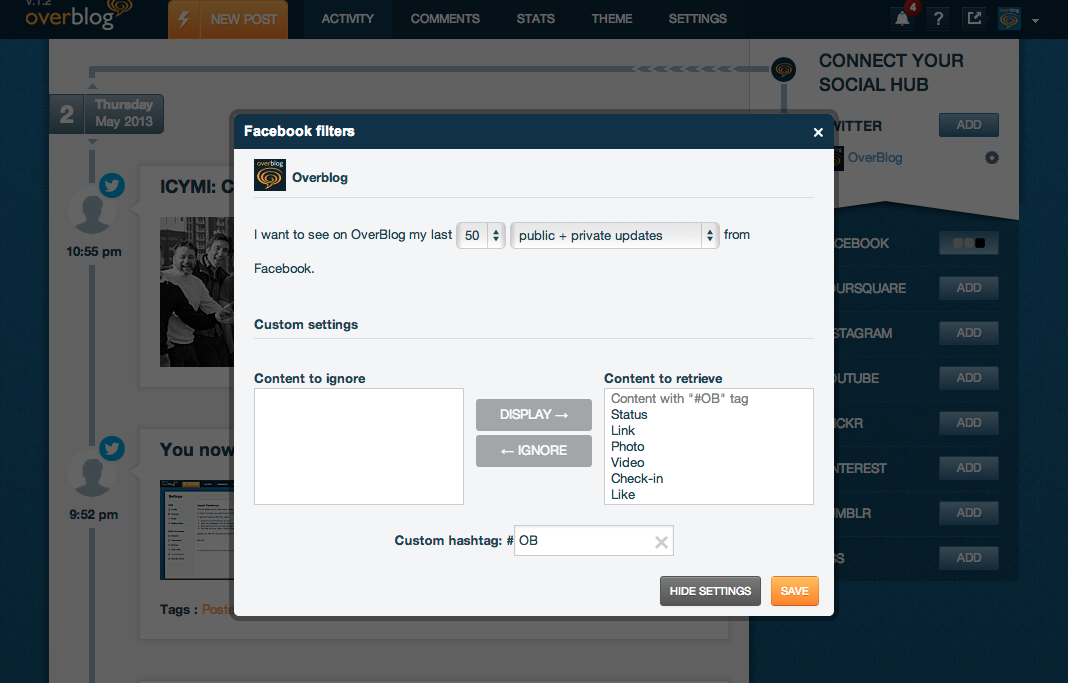 Filter the content that you want to display on your blog.