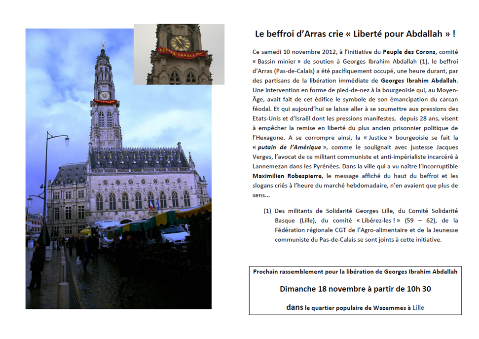 The belfry of Arras shouting &quot&#x3B;Freedom for Abdallah!&quot&#x3B;