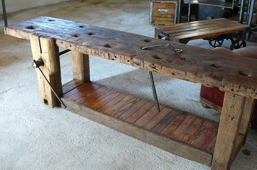 Ancien tabli de menuisier atelier seconde vie - Vieille table en bois ...