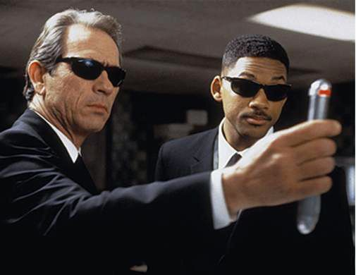 """Here come the Men In Black, they won't let you remember!"""