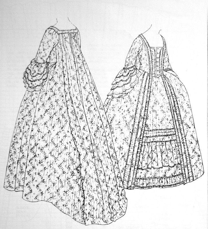 Robe à la Française c.1770-5 Snowshill Manor p34 Janet Arnold