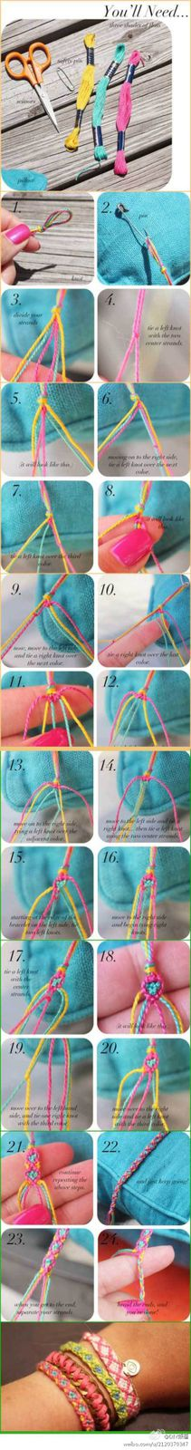 DIY a colorful heart knot braided bracelet
