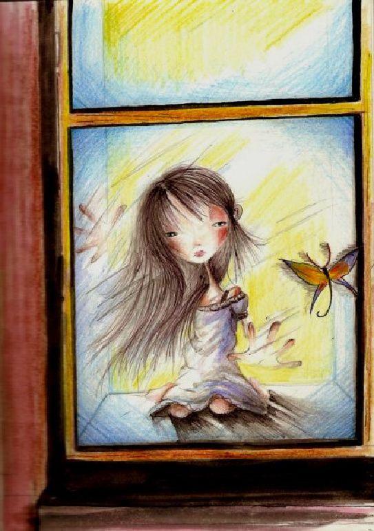 Petite fille aux papillons