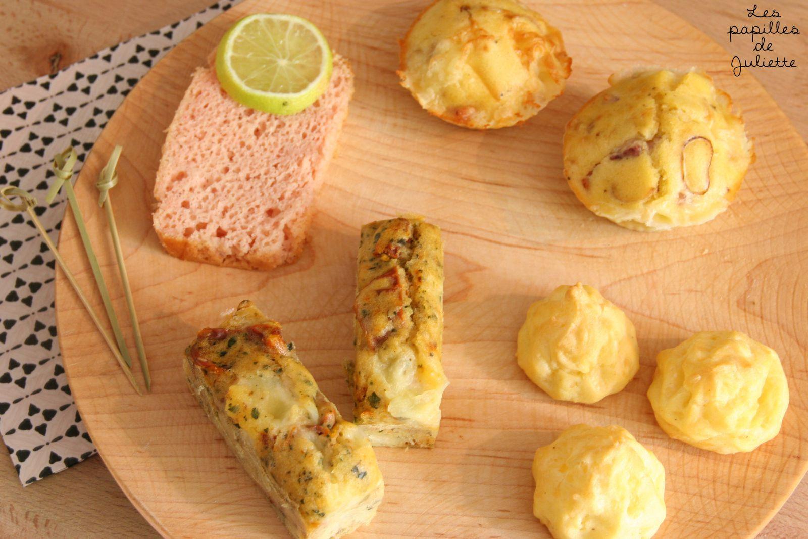 Variante de minis cakes: Tarama, savoyard, Italien et gougères au gruyère
