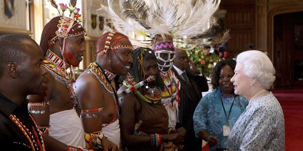 The Queen met by sounds from Kenyan tribal musicians, including representatives from the Samburu,Turkana, Njemp, Kikuyu, Borana and Maasai tribes in Windsor Castle on May 15th, 2012