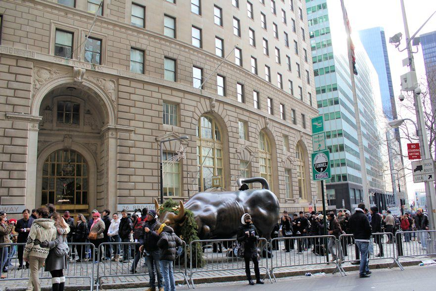 We were told that it is considered to be a good luck to touch the balls of the Wall Street Bull (which is Wall Street's symbol). We hope touching these balls will bring more money into our family's budjet